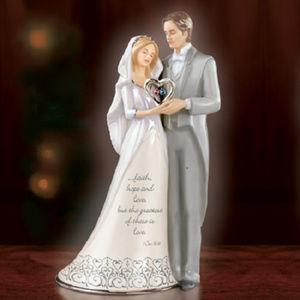 Heirloom Porcelain Bride and Groom w/ Birthstones